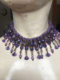 A personal favorite from my Etsy shop https://www.etsy.com/listing/495358396/purple-flower-choker-czech-glass