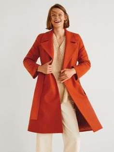Mango Buttoned Wool Coat - Red in Rust Dress Up Day, Belted Coat, Mango Fashion, High Leg Boots, Wool Fabric, Wool Coat, Coats For Women, Latest Trends, Duster Coat