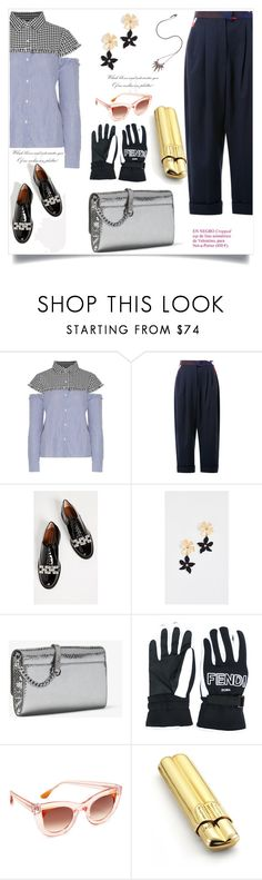 """Cutout Checked And Striped Cotton Top"" by camry-brynn ❤ liked on Polyvore featuring Delpozo, Marc Jacobs, Lizzie Fortunato, Fendi, Thierry Lasry, JvdF and Nikos Koulis"