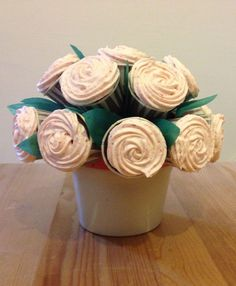 Dark chocolate cupcake bouquet, with real strawberry buttercream icing.