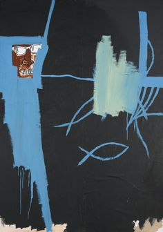 Jean-Michel Basquiat (American, 1960-1988), Untitled, 1983. Acrylic, oilstick and paper collage on canvas, 214 x 152.4 cm