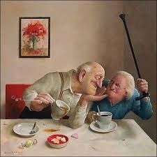 Marius van Dokkum, Unerwiderte Liebe – Home Decor Wholesalers Growing Old Together, Old Couples, Old Folks, Illustration Art, Illustrations, Dutch Painters, Dutch Artists, Norman Rockwell, Funny Art