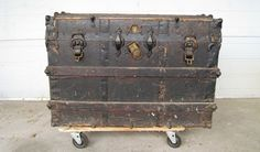 Antique Black Steamer Trunk, Turn Of The Century ~ Flat Trunk, Antique Trunk…