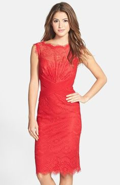 Free shipping and returns on Tadashi Shoji Lace Sheath Dress (Regular & Petite) at Nordstrom.com. Pleated mesh bands crisscross the waist of a jewel-toned lace sheath framed by eyelash scallops around the bateau neckline, sleeveless armholes and elongated hemline.
