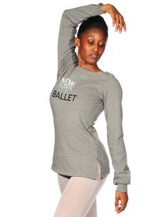 faf320c832ebe Danskin New York City Ballet fashion boa tneck top in a brushed cotton and  spandex blend