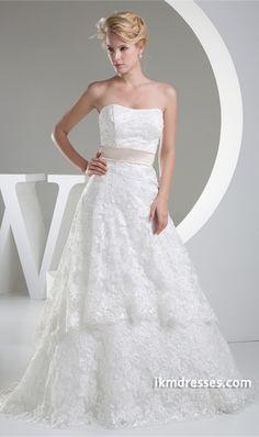Summer A-Line Sweetheart Brush/ Sweep Train Wedding Dress http://www.ikmdresses.com/Summer-A-Line-Sweetheart-Brush-Sweep-Train-Wedding-Dress-p20153