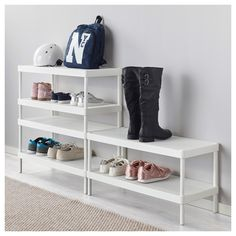 Ikea Mackapar Shoe Rack, designed for stacking, powder-coated steel with two perforated shelves, combine for shoe storage and entry tabletop Ikea Closet Organizer, Coat Closet Organization, Ikea Storage, Small Storage, Diy Shoe Storage, Diy Shoe Rack, Shoe Rack Closet, Shoe Racks, Home Decor