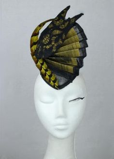 Yellow & Black sinamay, lace and pheasant feather accented headpiece / hat / fascinator
