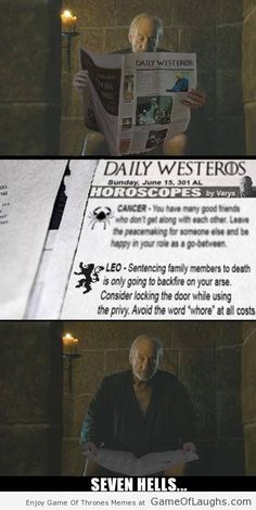 This is why Tywin was scared after reading the daily horoscope