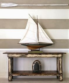 Decorative Ships and Sailboats, Sail Boat Decoration, Wooden Oars, Beach Style