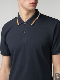 New Mens Polo Pint Stripe T Shirt With Collar Front Embroidered Logo