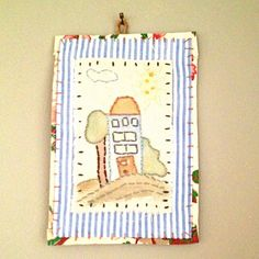 Textile art collage - hand drawn & stitched house on the hill - hanging piece by judithadesigns09 on Etsy