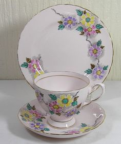 """Vintage Fine Bone China Pale Pink Floral Tea Trio Set By """"Tuscan China"""" Made In England Cup Saucer Plate World Wide Shipping by TheMewsCottage on Etsy"""