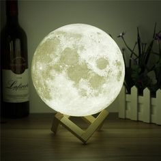 Moon Light - Printing Moon - Stepless Dimmable - Moon Lamp Shade - Warm and White Touch Control Brightness with USB Charging - Moon Decor - Lunar Night Light with Wooden Mount - Moon Gifts Inch ** Click image for more details. (This is an affiliate link) Lampe Led, Led Lamp, Usb, Moon Light Lamp, Lampe Tactile, Moon Table, Moon Decor, Wall Decor, Boho Home