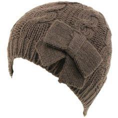 Cable Knit Beanie Skull Ski Winter Ribbon Bow Hat Dark Gray