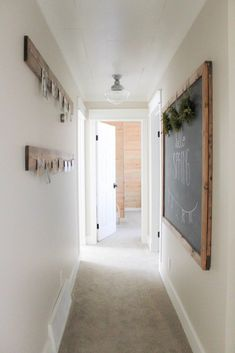 How to lighten and brighten a dark hallway. Benjamin Moore Edgecomb Gray and white trim by Making it In the Mountains                                                                                                                                                                                 More