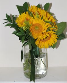 Sunflowers. A great Summer flower arrangement set in a mason jar for any room.