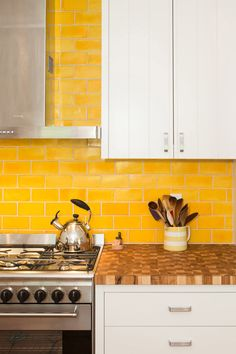 Bright And Bold Yellow Subway Tile Backsplash, Stainless Steel Appliances,  White Cabinets And Butcher Block Countertops | Pobal Construction Group