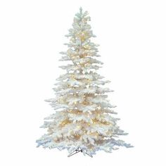 The Holiday Aisle® North Valley White Spruce Artificial Christmas Tree with Clear/White Lights & Reviews | Wayfair White Artificial Christmas Tree, Spruce Christmas Tree, Spruce Tree, Artificial Tree, Pink Christmas, White Flocked Christmas Tree, Christmas Mantles, Christmas Things, Victorian Christmas