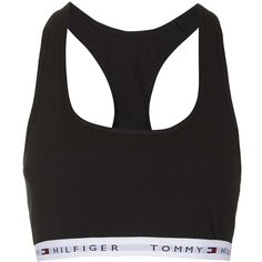 TopShop Tommy Hilfiger Bralet (140 ILS) ❤ liked on Polyvore featuring intimates, tops, underwear, bras, lingerie, black, topshop and bralette lingerie