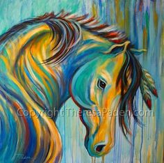 """Loyal One by Theresa Paden, painting of a Native American War Horse, 36"""" x 36"""" canvas."""