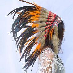 Orange Duck Feather Headdress ADJUSTABLE Native American Indian Inspired