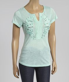 Look at this Simply Irresistible Mint Embellished Notch Neck Tee on #zulily today!