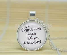 1pcs Game of Thrones 'Fear Cuts Deeper Than Swords' Quote Necklace, Quote Jewelry Glass dome Cabochon Necklace  //Price: $US $2.75 & FREE Shipping //     #gameofthronesmarathon #gameofthronestour #jonsnow #starks #sansastark #gameofthronesaddict