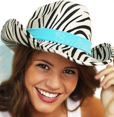 Our Western Zebra Hat with Veil is Perfect to Accent Your Bachelorette Party Hair!