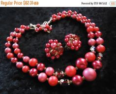 Cyber Monday Sale Vintage Pink Red 2 Strand Beaded Necklace Signed Japan Collectible Retro Rockabilly Glam Jewelry by MartiniMermaid on Etsy https://www.etsy.com/listing/222453877/cyber-monday-sale-vintage-pink-red-2