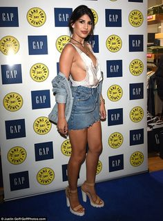 Revealing: It was a closely fought battle to determine who wore the most revealing outfit at the launch of national fundraising event Jeans for Genes on Tuesday evening – and Jasmin Walia appeared to come out on top with another eye-catching display