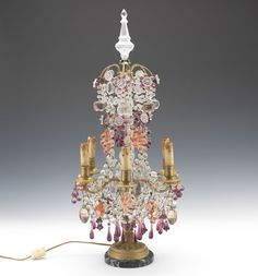 A French Gilt Bronze and Crystal Six-Light Electrified Luster Girandole, ca. 19th Century