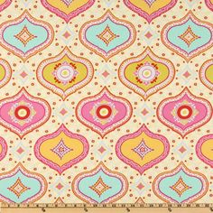 Kumari Garden Chandra Red from @fabricdotcom  Designed by Dena Designs for Free Spirit, this abstract cotton print fabric features a color palette of lavender, beige, lime, red and fuchsia. Use fabric for quilts, home décor accents, craft projects and apparel.