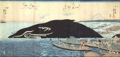Captured whale with a view of Mount Fuji by Kuniyoshi.