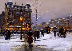 Edouard Leon Cortes - La place Pigalle en hiver