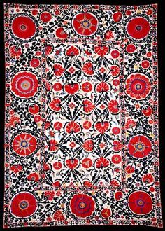 Suzani textile - embroidered and decorative tribal textile made in Tajikistan, Uzbekistan, Kazakhstan and other Central Asian countries. (Wikipedia)