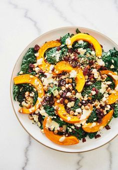 Kale and Roasted Red Kuri Squash Salad via A House in the Hills
