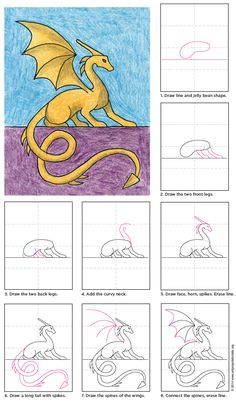 Draw a Sitting Dragon · Art Projects for Kids Drawing Lessons, Drawing Techniques, Art Lessons, Drawing For Kids, Art For Kids, Drawing Ideas, Drawing Drawing, Projects For Kids, Art Projects