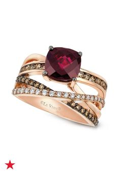 Wish her a happy birthday with her birthstone, garnet, and white and chocolate diamonds. Available now at Macy's!