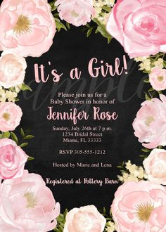 Watercolor Floral Chalk Baby Shower Invitation by LoveLifeInvites
