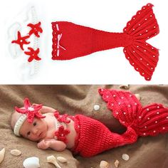 Newborn Cuteness Handmade Mermaid Tail, Top & Headband Photo Prop Set