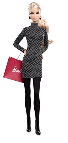 Amazon.com: Mattel Barbie Collector The Barbie Look Collection City Shopper Doll with Grey Dress: $19.94 comes with stand