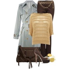 Classic Blue Trench - Polyvore