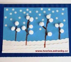 Bílé bambulky jako sníh napadaný na větvičkách stromů. Takově měkoučké zimní vyrábění :-)