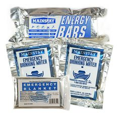 Survival Aid 3 in 1 Emergency Essentials - Food/Water/Blanket - 1 Day Value Pack #Mainstay