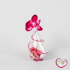 boite à dragées goute plastique avec orchidée - dragees colchiques