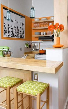 small orange kitchen