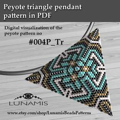 Peyote triangle patterns, pattern for triangle pendant, peyote pattern, bead pattern, beading, peyote stitch, PDF format / pattern only. This is a DIGITAL product, no physical goods will be sent! (Materials are NOT included!) Miyuki Delica Beads size 11/0 4 bead colors. Side