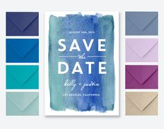 Modern Watercolor Save the Date Card or Postcard in Blue & Green - Kelly Blue Wedding Reception Invitations, Watercolor Background, Save The Date Cards, Pink Purple, Blue Green, Wedding Decorations, Dating, Hand Painted, Watercolors