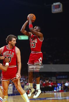 Michael Jordan #23 of the Chicago Bulls shoots a jump shot against the Washington Bullets during an NBA basketball game circa 1986 at the Capital Centre in Landover, Maryland. Jordan played for the Bulls from 1984-93 and 1995 - 98.